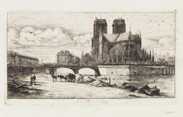 Charles Meryon, Apsis von Notre-Dame de Paris, 3. Zustand, Radierung 16,7 x 29,9 cm (Bibliothèque nationale de France, département Estampes et photographie, FOL-EF-397 (2))