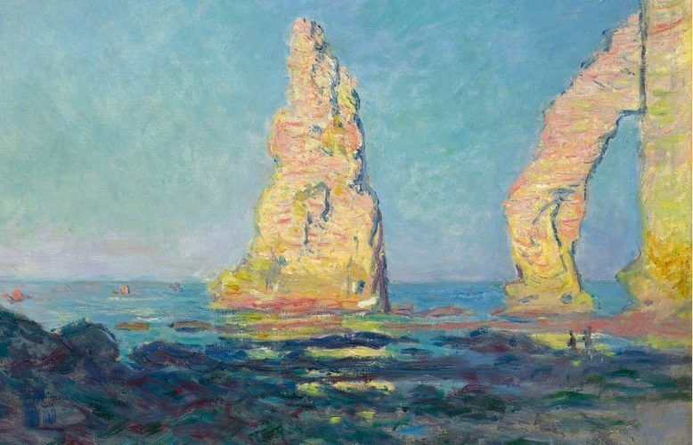 Claude Monet, Aiguille d'Étretat, marée basse [Felsnadel von Étretat bei Ebbe], Detail, 1883, Öl auf Leinwand, 60 x 81 cm (Privatsammlung, Foto: Alexandra Matzner, ARTinWORDS)