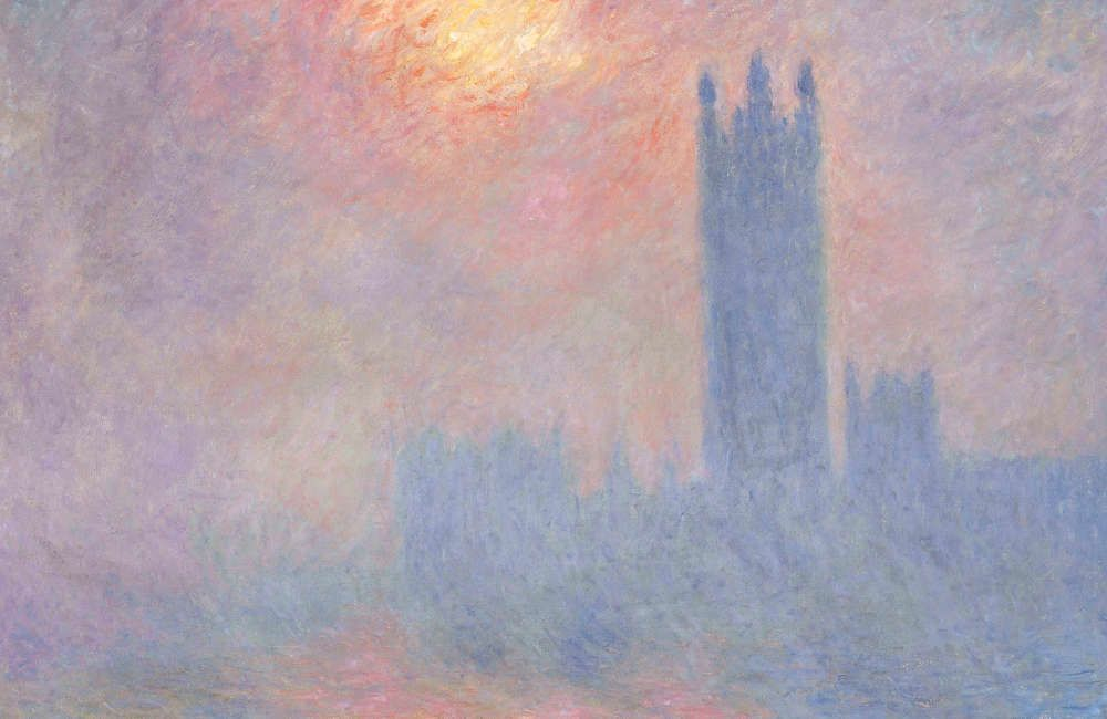 Claude Monet, London, das Parlament, Sonnenloch im Nebel, Detail, 1904, Öl/Lw, 81,5 x 92,5 cm (Musée d'Orsay, Paris)
