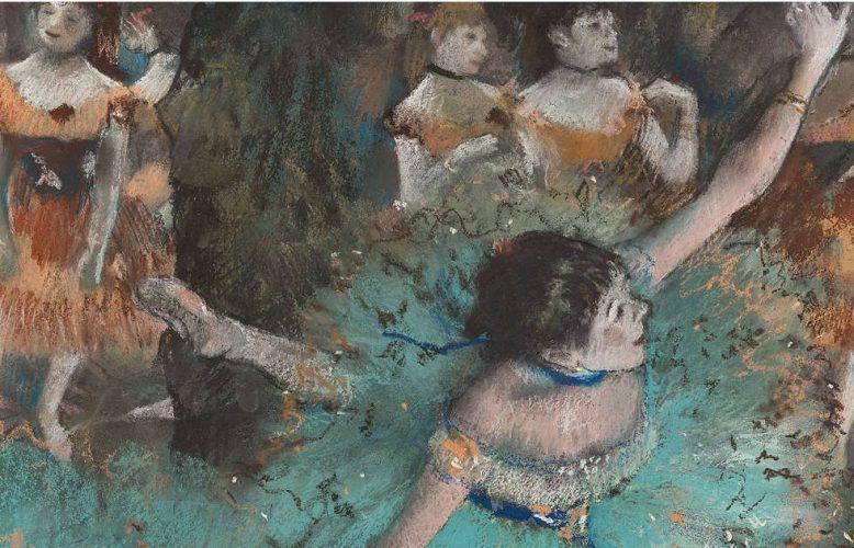 Edgar Degas, Tänzerinnen in Grün, Detail, 1877–1879, Pastell und Gouache auf Papier, 64 x 36 cm (Museo Nacional Thyssen-Bornemisza, Madrid)