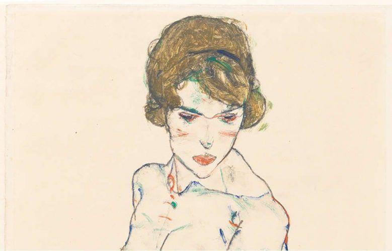Egon Schiele, Stehender Frauenakt mit blauem Tuch, Detail, 1914, Opake Farbe, Aquarell, Grafit auf Velinpapier, 48.3 x 32.2 cm (Germanisches Nationalmuseum, Nürnberg)