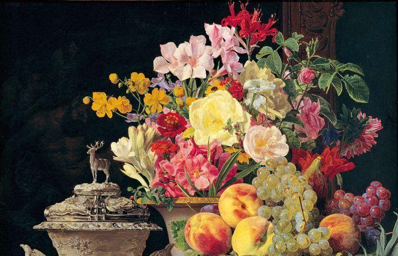 Ferdinand Georg Waldmüller, Stillleben mit Früchten, Blumen und silbernem Pokal, Detail © Belvedere, Wien