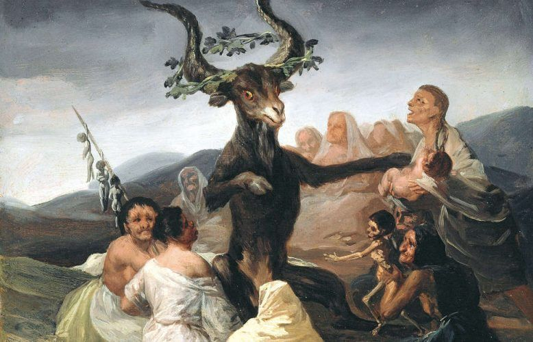Francisco de Goya, Der Hexensabbat, Detail, um 1797/98, Öl/w, 43 × 30 cm (Museo Lázaro Galdiano, Madrid)