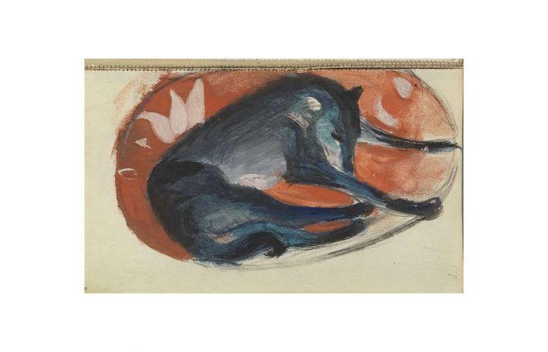 Franz Marc, Schlafender blauer Hund auf roter Matte, 1912/13, Aquarell, Deckfarben, auf Papier, aus Skizzenbuch XXIV, S. 103 (Germanisches Nationalmuseum, Nürnberg, Inv.-Nr. HZ 6381)