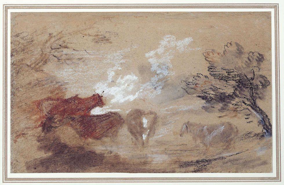 Thomas Gainsborough, Landschaft mit Rindern und Pferd, um 1785, Schwarze, braune, rote und weiße Kreide auf Papier, 15,2 x 24,8 cm (Sudbury, Gainsborough's House © Gainsborough's House, Sudbury)