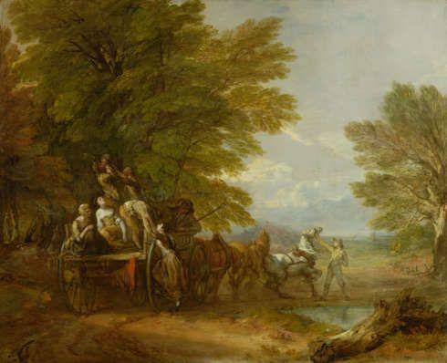 """Thomas Gainsborough, Waldlandschaft mit Wagen (""""Der Erntewagen""""), um 1766, Öl/Lw, 120,7 x 144,8 cm (Birmingham, The Barber Institute of Fine Arts © The Barber Institute of Fine Arts, Birmingham)"""