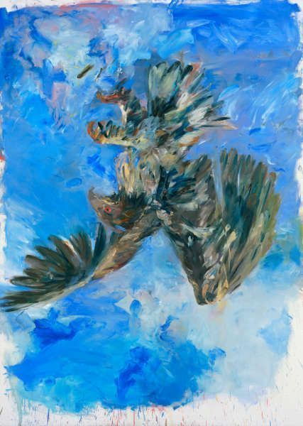 Georg Baselitz, Fingermalerei - Adler, 1972, Öl/Lw, 250 x 180 cm (München, Pinakothek der Moderne, © Georg Baselitz, 2018, Foto: © Bayer&Mitko – ARTOTHEK)