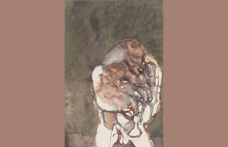 Georg Baselitz, Kopf, 1961, Aquarell, 46 x 31,4 cm (Staatliche Graphische Sammlung München, Dauerleihgabe des Wittelsbacher Ausgleichsfonds, Sammlung Herzog Franz von Bayern, Foto: Staatliche Graphische Sammlung München, © Georg Baselitz 2017)