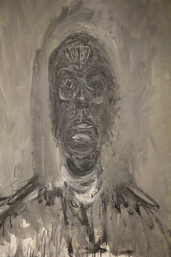 Alberto Giacometti, Grande tête noire, Detail, 1961, Öl auf Leinwand, 81 × 65 cm (Friedrich Christian Flick Collection), Foto: Alexandra Matzner.