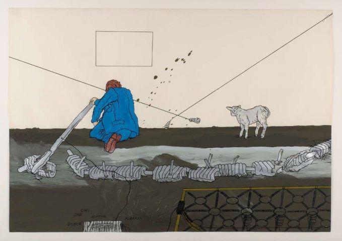 Bruno Gironcoli, Entwurf IV, 1967–1970, Tusche, Deckfarben auf Papier, 62 x 89 cm (mumok Museum moderner Kunst Stiftung Ludwig Wien, Leihgabe der Artothek des Bundes seit 1976, © BRUNO GIRONCOLI WERK VERWALTUNG GMBH / ESTATE BRUNO GIRONCOLI)