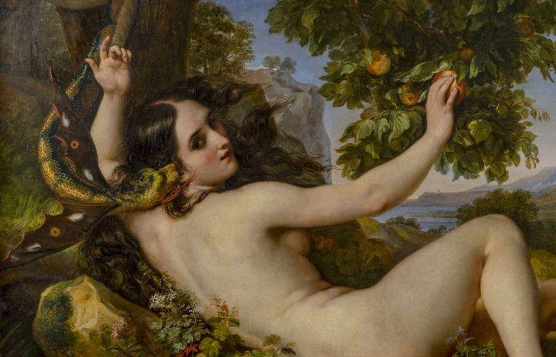 Giuseppe Bezzuoli, Eva, die von der Schlange in Versuchung geführt wird, Detail, 1853 (Palazzo Pitti, Galleria d'Arte Moderna)