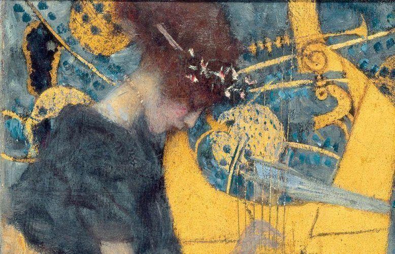 Gustav Klimt, Die Musik (Entwurf), Detail, 1895, Öl auf Leinwand, 37 × 44,5 cm (Bayerische Staatsgemäldesammlungen München – Neue Pinakothek)