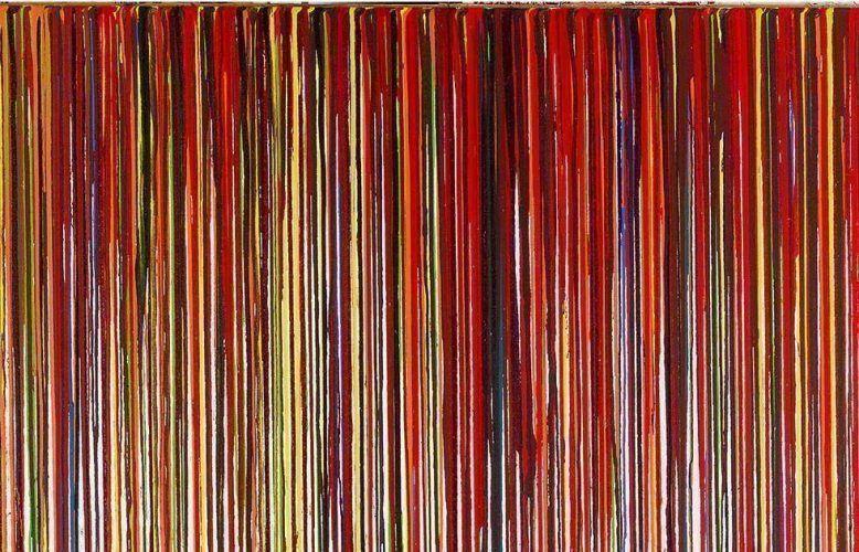 Hermann Nitsch, Schüttbild, Detail, 2011, Acryl auf Jute © Hermann Nitsch