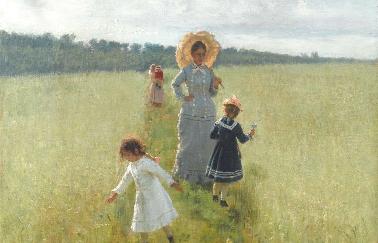 Ilja Repin, Auf dem Feldweg. Wera Repina mit ihren Kindern, Detail, 1879, Öl/Lw, 61.5 х 48 cm (Staatliche Tretjakow-Galerie, Moskau)