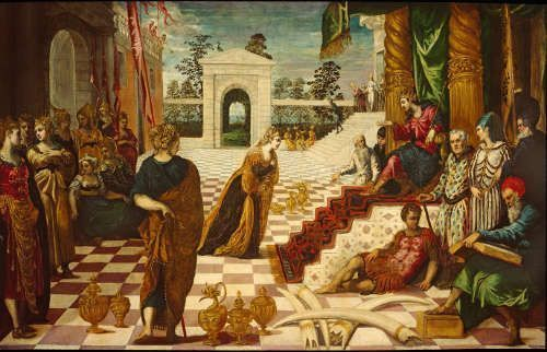 Jacopo Tintoretto und Werkstatt, Salomo und die Königin von Saba, um 1546–1548, Öl auf Leinwand, 151 x 238 cm (Bob Jones University Museum and Gallery, Greenville, South Carolina, Foto: © Bob Jones University Collection)