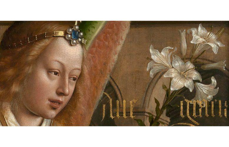 Jan van Eyck, Der Genter Altar, Außentafeln: Verkündigung, Verkündigungsengel, Detail, um 1430–1431 (©www.lukasweb.be - Art in Flanders vzw, foto Hugo Maertens)