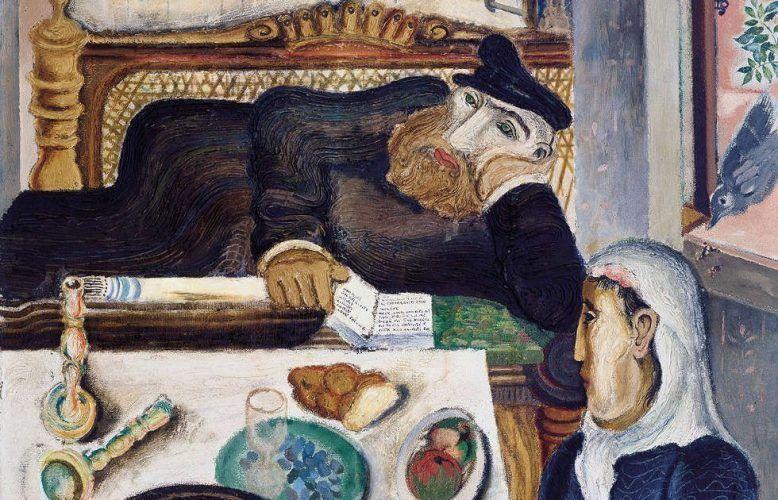 Jankel Adler, Sabbat, Detail, Düsseldorf 1925, Öl auf Leinwand, Mischtechnik, Sand auf Leinwand, 120 x 110 cm (Jüdisches Museum Berlin Foto: Jüdisches Museum Berlin, Jens Ziehe © VG Bild-Kunst Bonn, 2018)