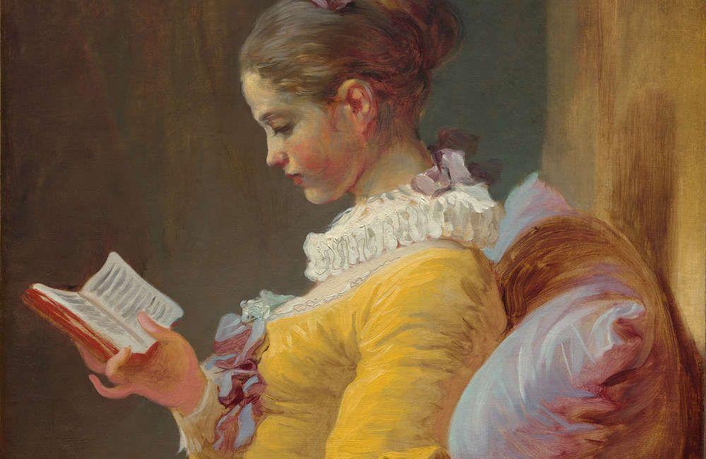 Jean Honoré Fragonard, Lesendes Mädchen, Detail, um 1769, Öl auf Leinwand, 81.1 x 64.8 cm (National Gallery of Art, Washington, Gift of Mrs. Mellon Bruce in memory of her father, Andrew W. Mellon)