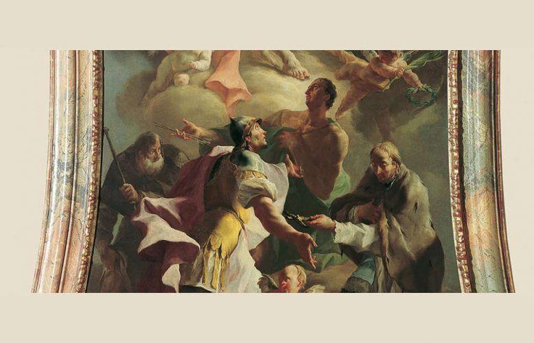 Josef Ignaz Mildorfer, Die Heilige Dreifaltigkeit mit vier Pestheiligen (ehem. Altarbild der Kapelle von Schloss Thurnmühle in Schwechat), um 1760 (Belvedere, Wien)