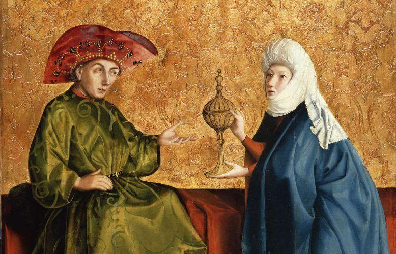 Konrad Witz, Die Königin von Saba vor Salomo, Detail, um 1430/37, Öl auf Eichenholz (© Staatliche Museen zu Berlin, Gemäldegalerie / Jörg P. Anders)