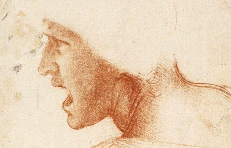 Leonardo da Vinci, Kopf eines Kriegers, Detail, 1504, Rötel, 19 x 21 cm (Szepmueveszeti Muzeum, Budapest)