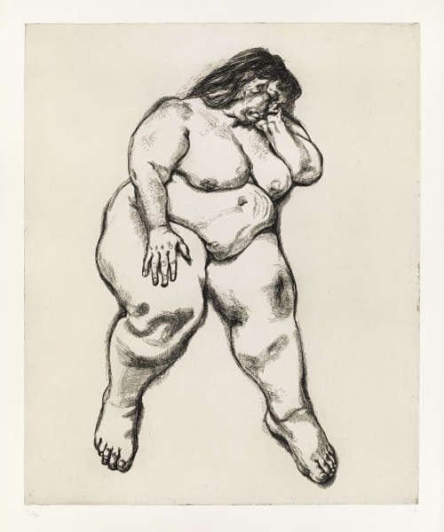 Lucian Freud, Large Sue (Benefits Supervisor Sleeping), Radierung, 82,5 x 67,3 cm (© The Lucian Freud Archive/Bridgeman Images UBS Art Collection)