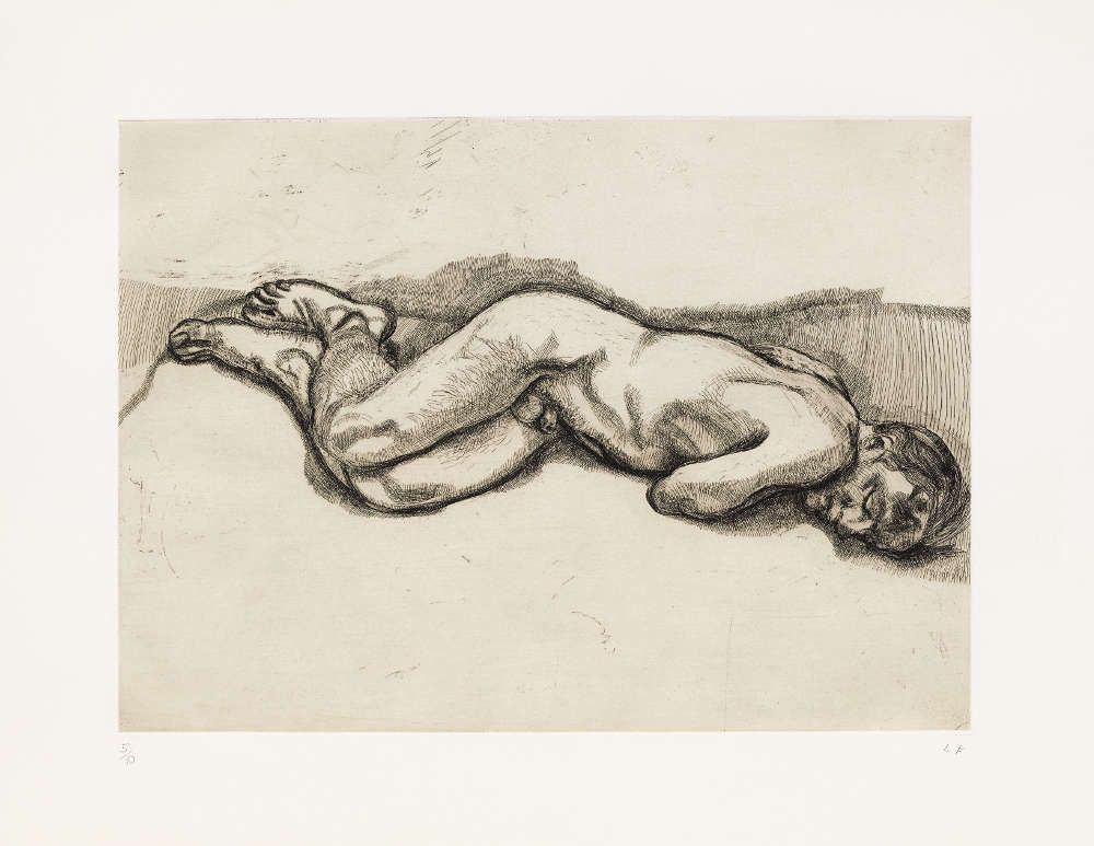 Lucian Freud, Naked Man on a Bed, 1987, Radierung, 57,2 x 76,2 cm (© The Lucian Freud Archive/Bridgeman Images UBS Art Collection)