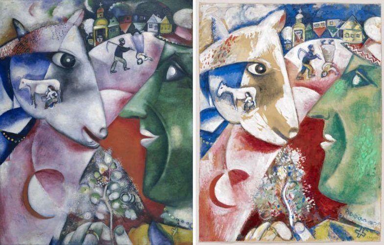 Marc Chagall, Ich und das Dorf (MoMA), Ich und mein Dorf (Kunstmuseum Basel), 1911 (ProLitteris, Zürich)