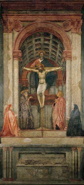 Masaccio, Trinität, Ende 1425, Fresko, 667 x 317 cm (Florenz, Santa Maria Novella)