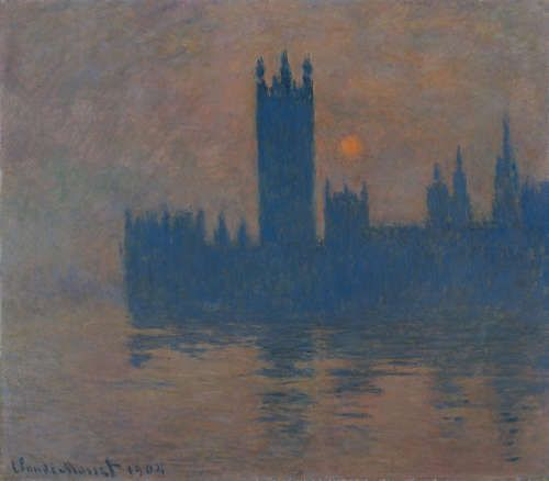 Claude Monet, Houses of Parliament, Sunset [Parlament, Sonnenuntergang], 1904, Öl/Lw, 81 x 92 cm (Kaiser Wilhelm Museum, Krefeld)
