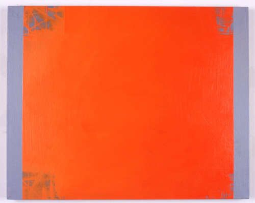 Nancy Haynes, Red Orange Scaffold, 2000/01, Öl auf Leinwand, 61 x 72 cm (Privatsammlung Wien Courtesy Galerie Hubert Winter, Wien © Nancy Haynes)
