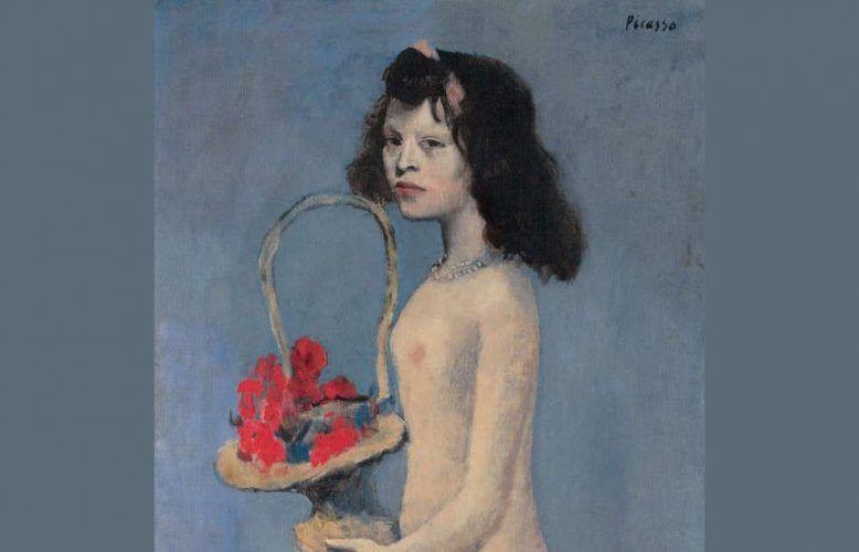 Pablo Picasso, Mädchen mit Blumenkorb, Detail, 1905, 154,6 x 66,1 cm (Privatsammlung)