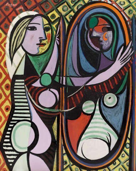 Pablo Picasso, Mädchen vor einem Spiegel [Jeune fille devant un miroir], 1932, Öl/Lw, 162,3 x 130,2 cm (The Museum of Modern Art, New York. Gift of Mrs. Simon Guggenheim 1937 © Succession Picasso/DACS London, 2017)
