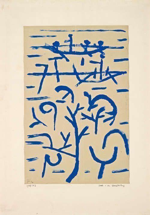 Paul Klee, Boote in der Überflutung, 1937, 202, Blaue Kleisterfarbe auf Papier auf Karton, 49,5 x 32,5 cm (Fondation Beyeler, Riehen/Basel, Sammlung Beyeler, Foto: Robert Bayer)