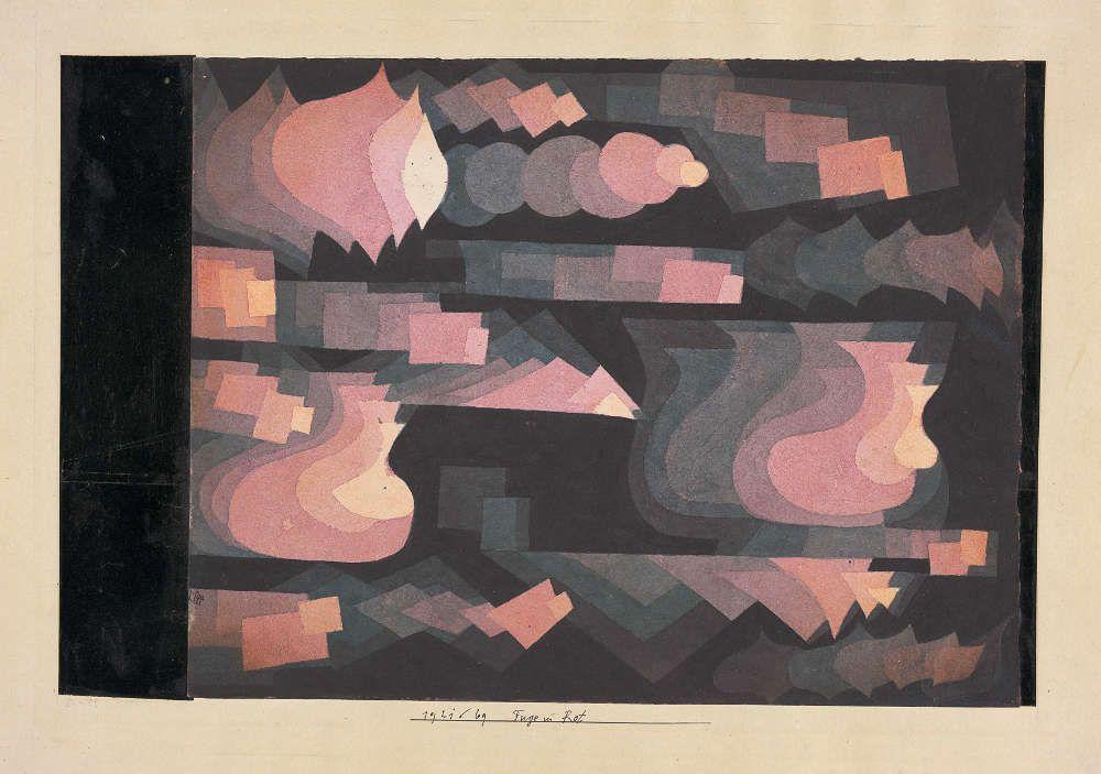 Paul Klee, Fuge in Rot, 1921, 69, Aquarell und Bleistift auf Papier auf Karton, 24,4 x 31,5 cm (Privatbesitz Schweiz, Depositum im Zentrum Paul Klee, Bern)