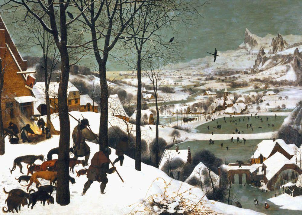 Pieter Bruegel der Ältere, Die Jäger im Schnee (Winter), 1565, signiert und datiert, Öl auf Eichenholz, 117 x 162 cm (Wien, Kunsthistorisches Museum)