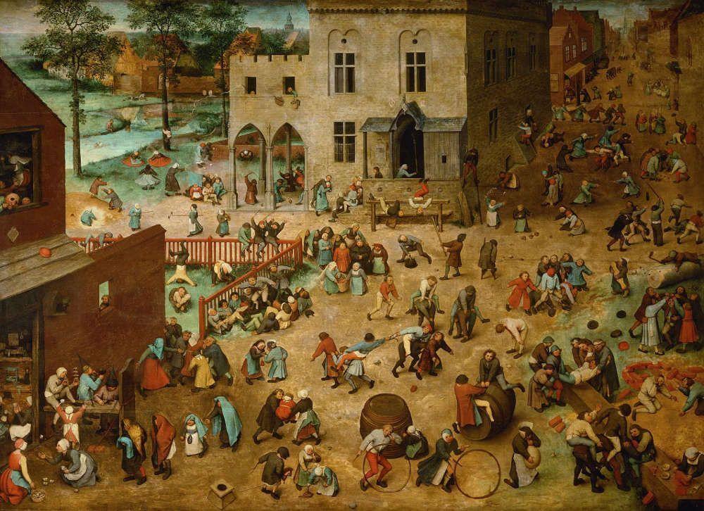 Pieter Bruegel der Ältere, Kinderspiele, 1560, signiert und datiert, Öl auf Eichenholz, 118 x 161 cm (Wien, Kunsthistorisches Museum, Inv.-Nr. 1017)
