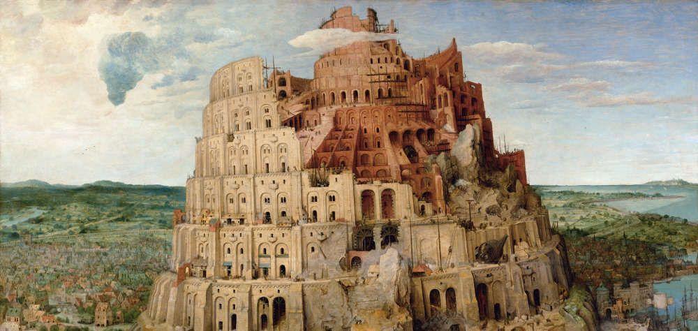 Pieter Bruegel der Ältere, Der Turmbau zu Babel, Turm, 1563, signiert und datiert, Öl auf Eichenholz, 114 x 155 cm (Wien, Kunsthistorisches Museum, Inv.-Nr. 1026)