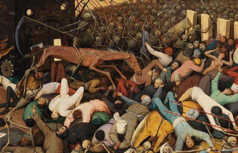 Pieter Bruegel d. Ä., Der Triumph des Todes, Reiter mit Sense, 1562–1563, Öl/Holz, 117 x 162 cm (Madrid, Museo Nacional del Prado)