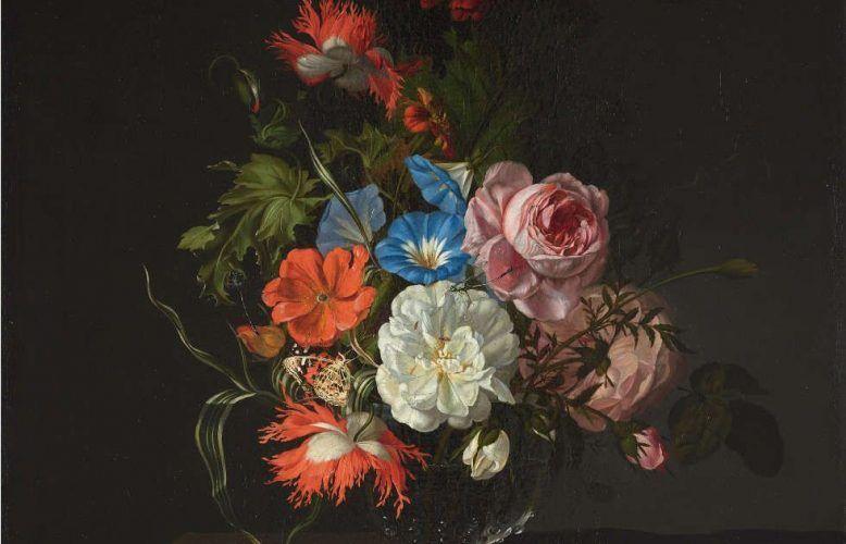 Rachel Ruysch, Blumen in einer Glasvase, Detail, 1686, Öl/Leinwand, 57,4 x 46 cm (Kunsthalle Bremen – Der Kunstverein in Bremen)
