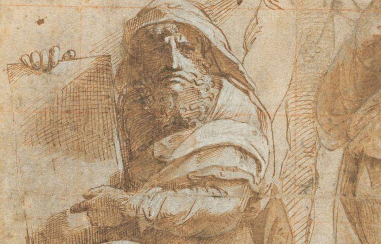 Raffael, Die Propheten Hosea und Jonas, Detail, um 1510, Feder, braune Tinte, Kohle, Stylus, 26,2 x 20 cm (The Armand Hammer Collection, National Gallery of Art, Washington, Inv.-Nr. 1991.217.4)