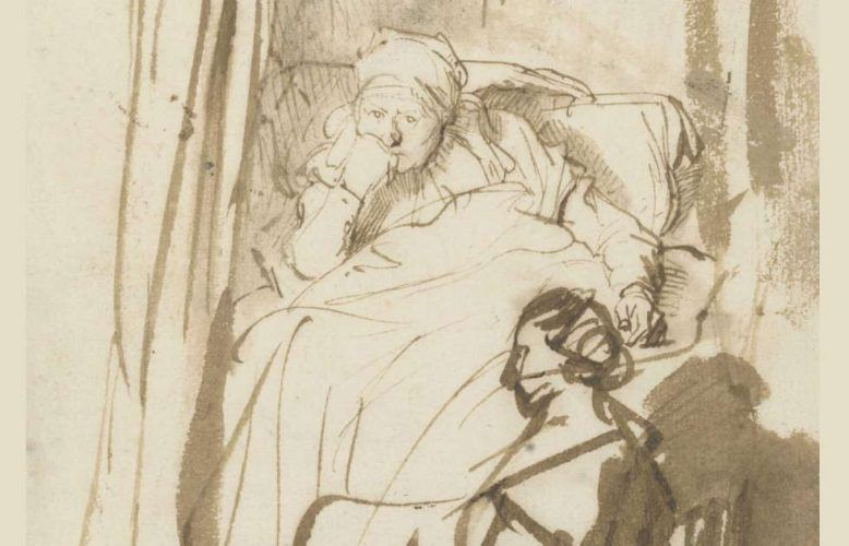 Rembrandt, Frau im Bett (Saskia?) mit einer Amme, Detail, um 1638, Feder und Pinsel in Braun, braun laviert, 22,7 x 16,4 cm (© Staatliche Graphische Sammlung München)
