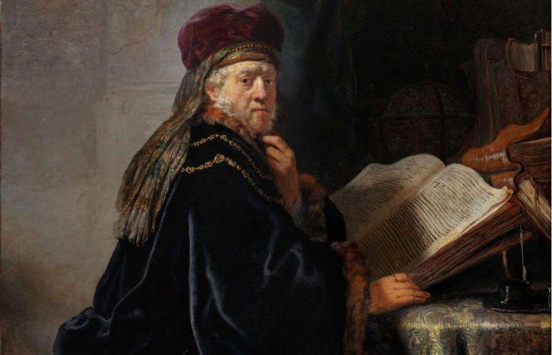 Rembrandt (Harmensz. van Rijn), Gelehrter im Studierzimmer, Detail, 1634, Öl/Lw (Nationalgalerie Prag, Foto: Museum)