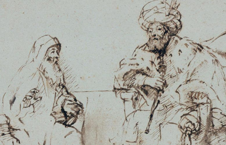 Rembrandt Harmensz. van Rijn, Nathan ermahnt David, Detail, um 1660–1663, Feder in Braun, stellenweise gewischt, graubraun laviert, auf Papier (© Staatliche Museen zu Berlin, Kupferstichkabinett / Jörg P. Anders)