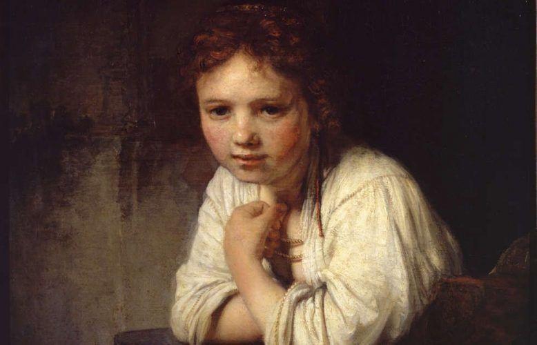 Rembrandt van Rijn, Mädchen am Fenster, Detail, 1645, Öl/Lw, 81.8 x 66.2 cm (Dulwich Picture Library, London, Bourgeois Bequest, 1811)