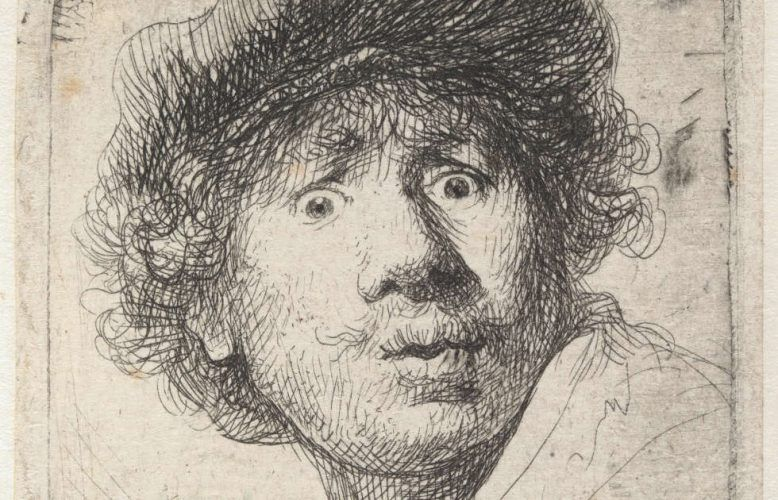Rembrandt van Rijn, Selbstbildnis mit Mütze, den Mund geöffnet, Detail, 1630, Radierung, 5,1 x 4,6 cm (© Hamburger Kunsthalle / bpk, Foto: Christoph Irrgang)