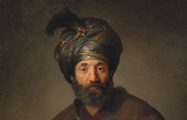 Rembrandt und Werkstatt, Mann in orientalischer Tracht, Detail, um 1635, Öl/Lw, 98.5 x 74.5 cm (National Gallery of Art, Washington, Andrew W. Mellon Collection, Inv.-Nr. 1940.1.13)