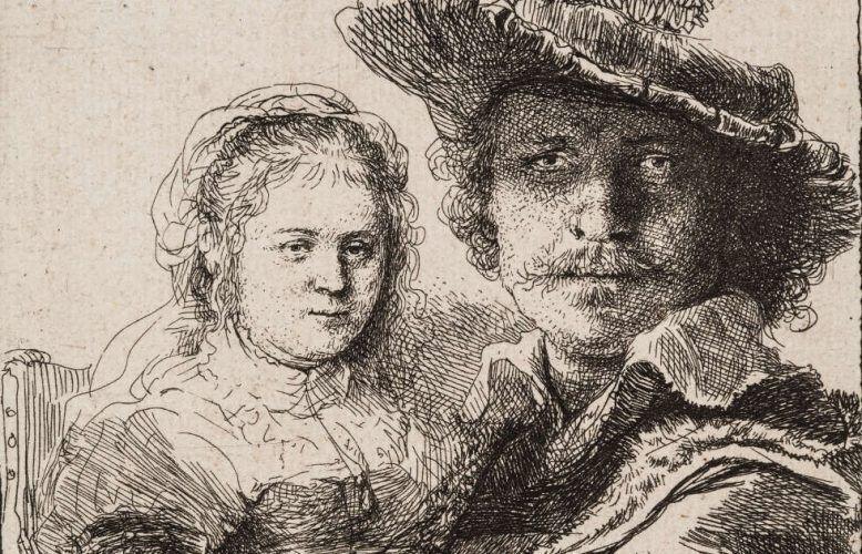 Rembrandt van Rijn, Selbstbildnis mit Saskia, Detail, 1636 (Kupferstich-Kabinett © SKD, Foto: Andreas Diesend)