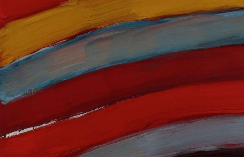 Sean Scully, Landline Bend Triptych, Detail, 2017, Öl/Aluminium, 3-teilig, je 215,9 × 190,5 cm (Privatsammlung © Sean Scully, Foto: Robert Bean)