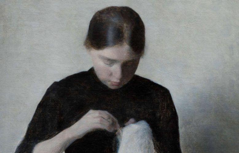Vilhelm Hammershøi, Ein junges nähendes Mädchen, Detail, 1887, Öl auf Leinwand, 37 x 35 cm (Ordrupgaard, Kopenhagen © Foto: Anders Sune Berg)